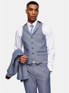 Topman - Mens Harry Brown Blue Slim Suit Waistcoat, Blue