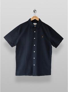 Farah - Mens Farah Navy Seersucker Short Sleeve Shirt*, Navy
