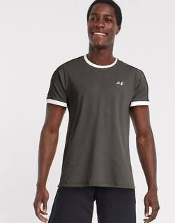 Burton Menswear - MB Collection – T-Shirt mit Paspeln in Khaki-Grün