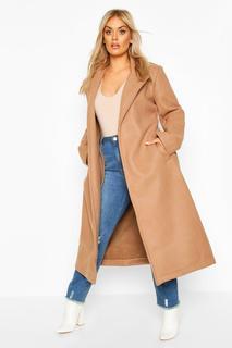 boohoo - Womens Plus Oversized Self Belted Long Coat - Beige - 22, Beige