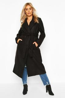 boohoo - Womens Plus Oversized Self Belted Long Coat - Black - 22, Black