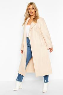 boohoo - Womens Plus Oversized Self Belted Long Coat - White - 16, White