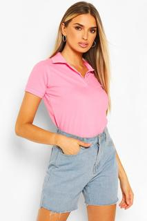 boohoo - Womens Premium Polo T-Shirt - Pink - Xs, Pink