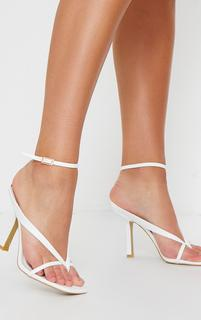 PrettyLittleThing - White PU Toe Thong Strappy High Heels, White