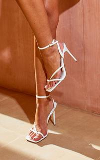 PrettyLittleThing - White PU Square Toe Strappy High Heeled Sandals, White