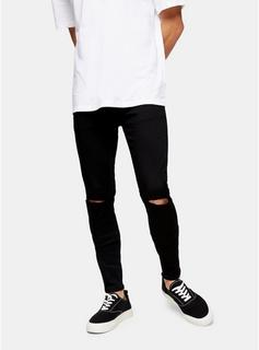 Topman - Mens Washed Black Knee Ripped Spray On Jeans, BLACK