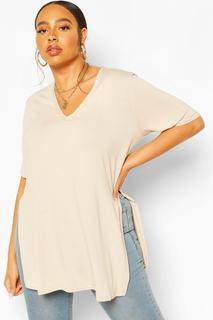 boohoo - Womens Plus V Neck Split Side Longline T-Shirt - Beige - 20, Beige