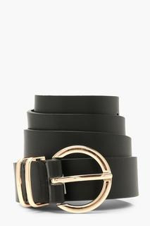 boohoo - Womens Metal Detail Ring Buckle Belt - Black - One Size, Black