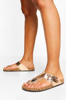 boohoo - Womens Sandalen Mit Zehensteg Und Fußbett - Rotgold - 38, Rotgold