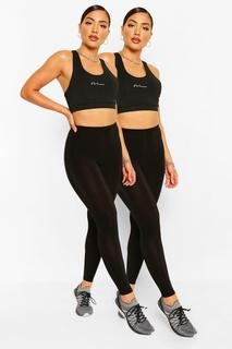 boohoo - Womens 2 Pack Booty Boost Leggings - Black - M, Black