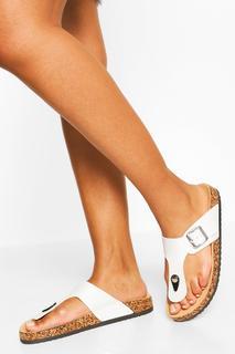 boohoo - Womens Sandalen Mit Zehensteg Und Fußbett - Weiß - 37, Weiß