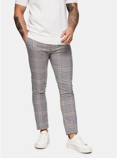 Topman - Mens Grey And Brown Houndstooth Skinny Trousers, Grey
