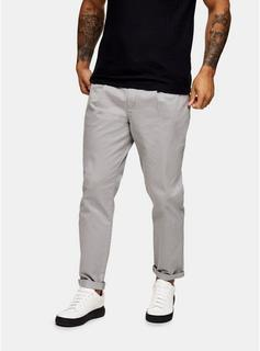 Topman - Mens Grey Pleated Tapered Trousers, Grey