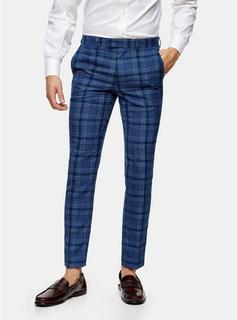 Topman - Mens Blue Check Skinny Fit Suit Trousers, Blue
