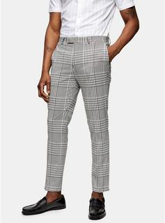 Topman - Mens Grey Skinny Fit Check Suit Trousers, Grey