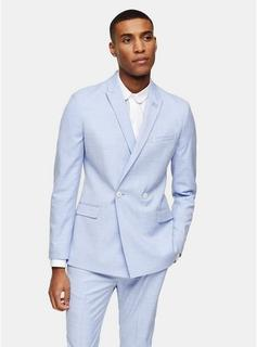 Topman - Mens Blue Double Breasted Skinny Fit Suit Blazer With Peak Lapels, Blue