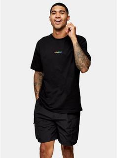 Topman - Mens London Rainbow T-Shirt In Black, Black