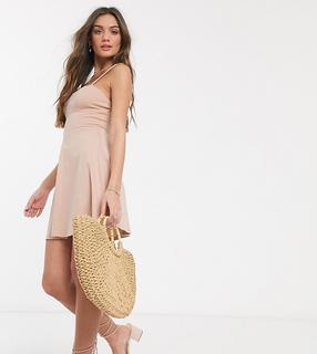 ASOS Petite - ASOS DESIGN Petite – Mini-Sommerkleid mit eckigem Ausschnitt und abgenähten Körbchen in Nude-Beige