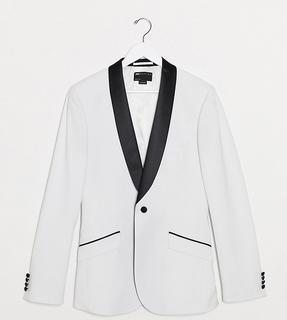 ASOS DESIGN - Tall – Sehr eng geschnittene Smokingjacke in Weiß mit schwarzem Revers