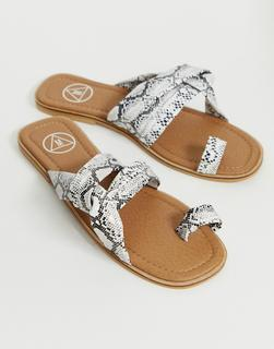 Missguided - Sandalen mit überkreuzten Riemen und Schlangenhautmuster-Mehrfarbig