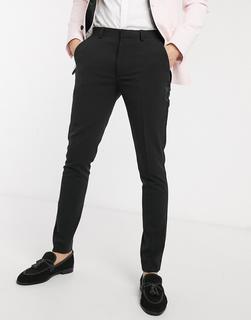ASOS DESIGN - Super eng geschnittene Anzughose in Schwarz mit Satin-Seitenstreifen