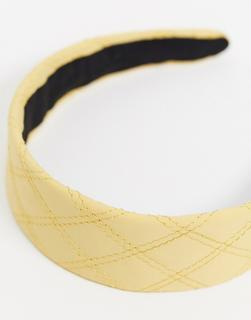 Pieces - Gelber Haarreif mit Ziernähten