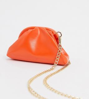 Glamorous - Exklusive Mini-Clutch in weicher Knautschoptik mit abnehmbarem Riemen, Orange