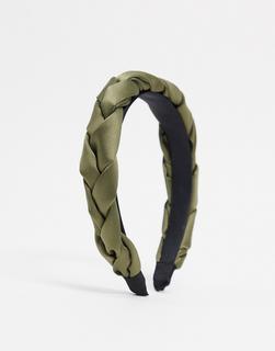 My Accessories - London – Gepolsterter Haarreif aus geflochtenem Satin in Khaki-Grün