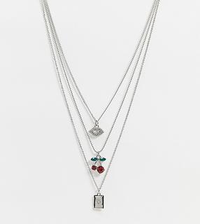 Reclaimed Vintage - Inspired – Mehrreihige Halskette in Silber mit Kirsch-Anhänger
