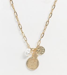 Reclaimed Vintage - Inspired – Halskette mit Münzanhängern in Gold