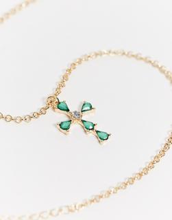 ASOS DESIGN - Halskette in Gold mit Kreuzanhänger und smaragdgrünen Schmucksteinen