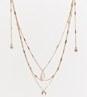 ASOS Curve - ASOS DESIGN Curve – Mehrreihige, goldfarbene Halskette mit Mond- und Sternen- und Schmucksteinanhängern