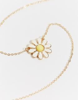 ASOS DESIGN - Halskette in Gold mit Gänseblümchenanhänger
