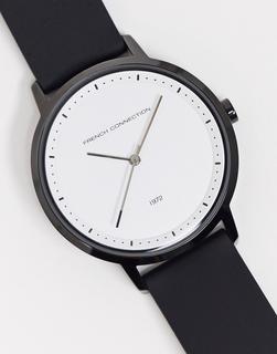 French Connection - Schwarze Armbanduhr mit weißem Zifferblatt