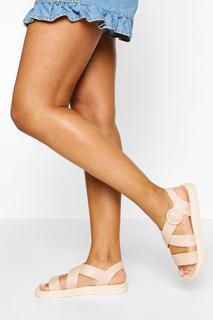 boohoo - Womens Sandalen Mit Dicker Sohle Und Fußbett - Hautfarben - 37, Hautfarben