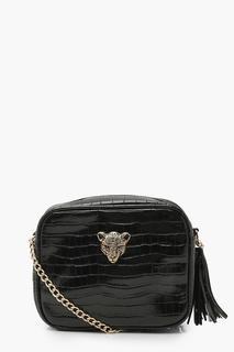 boohoo - Womens Croc Cheetah Hardware Quilted Cross Body Bag - Black - One Size, Black