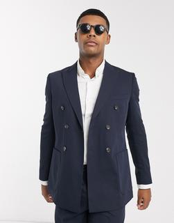 Jack & Jones - Premium – Schmal geschnittene, doppelreihige Anzugjacke in Marine-Navy