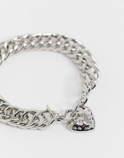 ASOS DESIGN - Breites Kettenarmband mit Herzanhänger, Silberfarben