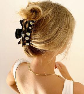 ASOS DESIGN - Haarspange mit Gänseblümchenprint in Schwarz