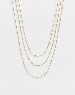 DesignB London - Mehrreihige Halskette in Gold