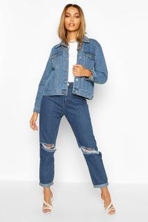 boohoo - Womens Western Denim Jacket - Blue - 8, Blue
