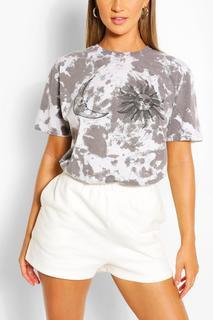 boohoo - Womens Tie Dye Sun & Moon Printed T-Shirt - Black - Xl, Black