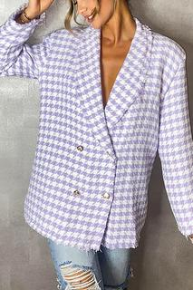 boohoo - Dogtooth Woven Double Breasted Boxy Blazer - Purple - 8, Purple