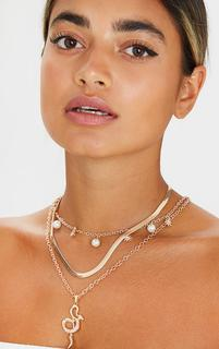 PrettyLittleThing - Gold Pearl And Snake Layering Necklace, Yellow