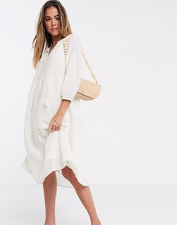 Vero Moda - Midi-Hängerkleid in Creme mit Bindeausschnitt-Cremeweiß