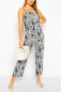 boohoo - Womens Woven Paisley Print Strappy Cami Jumpsuit - Blue - 30, Blue