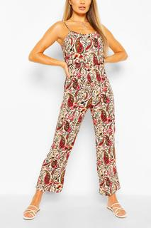 boohoo - Womens Woven Paisley Print Strappy Cami Jumpsuit - Red - 34, Red