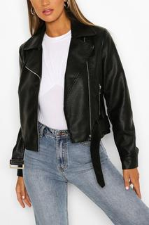 boohoo - Womens Belted Biker Jacket - Black - 14, Black