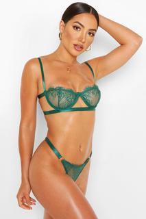 boohoo - Womens Set Aus Bügel-Bh Mit Schmalen Trägern Und Tanga - Emerald - L, Emerald