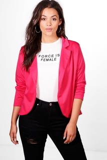 boohoo - Womens Plus One Button Ponte Blazer - Pink - 24, Pink
